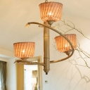 Rural Tree Branch Pendant Chandelier Bamboo 3-Light Dining Room Hanging Light with Beige Cup Shade