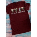 Simple Rolled Short Crew Neck Letter IT'S OK TO BE DIFFERENT Elephant Regular Fit T Shirt for Girls
