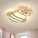 Bee Shape Acrylic Ceiling Flush Cartoon White/Pink/Blue and Wood LED Flush Mount Light for Kids Bedroom