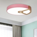 Acrylic Round Flush Mount Ceiling Lamp Modern Pink/Green/White and Wood LED Flushmount Light for Bedroom