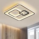 Squared Acrylic Ceiling Mounted Light Modernist LED Black Flush Lamp Fixture, 16