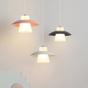 Modern Wide Flare Hanging Lamp Kit Acrylic LED Bedside Ceiling Pendant Light with Black/Pink/White Dome Iron Detail