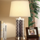 Single-Bulb Fabric Night Light Retro White Tapered Table Lamp with Nickel Quatrefoil Pillar Base