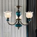 3/6-Light Up Chandelier Lighting Farmhouse Flower Clear Ribbed Glass Hanging Pendant Lamp in Black