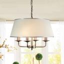 Farmhouse Drum Shape Chandelier Pendant Light 4-Light Fabric Suspension Lamp in White/White-Silver