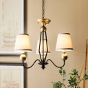 3/6 Lights Cone Hanging Chandelier Vintage White Fabric Ceiling Pendant Lamp with Black Curved Arm