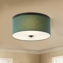 Fabric Green Ceiling Lamp Drum Shade 5 Bulbs Farmhouse Style Flush Mount Lighting