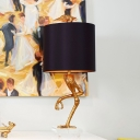 Gold Ostrich Table Lighting Retro Resin 1 Light Bedroom Night Lamp with Cylinder Fabric Shade