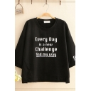 Cool Street Girls Three-Quarter Sleeve Round Neck Letter EVERY DAY IS A NEW CHALLENGE Print Slit Side Relaxed T-Shirt