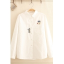 Casual Fashion Womens Long Sleeve Lapel Neck Button Up Cat Embroidery Chest Pocket Relaxed Shirt Top in White