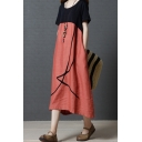 Trendy Retro Womens Short Sleeve Round Neck Stripe Print Color Block Linen and Cotton Maxi Oversize Dress