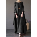 Vintage Solid Color Roll Up Sleeve Round Neck Linen and Cotton Maxi Oversize Dress for Women
