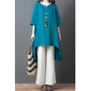 Vintage Womens Three-Quarter Sleeve Round Neck Asymmetric Hem Linen Oversize Tee & Long Wide-Leg Pants Set
