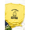 Girls Cute Rolled Short Sleeve Round Neck Letter CAT HAIR IS GLITTER Cat Graphic Slim Fit T Shirt