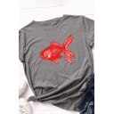 Chic Basic Rolled Short Sleeve Round Neck Red Fish Patterned Slim Fit T Shirt for Girls