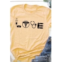 Leisure Simple Womens Rolled Short Sleeve Crew Neck Letter LOVE Cartoon Graphic Loose Fit Tee Top