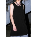 Casual Guys Solid Color Sleeveless Round Neck Loose Fitted Tank Top