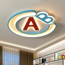 Letter Flush Light Fixture Cartoon Acrylic LED Bedroom Flush Mount in Blue and Red, Warm/White Light