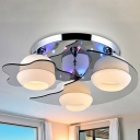 3/5-Head Globe Flush Light Fixture Modernist Chrome Frosted Glass Flushmount with Crystal Droplet