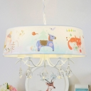 Animal Pattern Fabric Chandelier Pendant Kid 5 Lights Blue Suspension Lighting with Crystal Drop