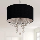 4 Bulbs Drum Chandelier Modern Black Fabric Pendant Light Fixture with Crystal Accent