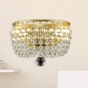 Crystal Orb Basket Wall Lamp Traditional 2 Bulbs Living Room Wall Sconce Lighting in Gold