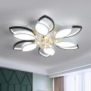 Acrylic Flower Flush Light Modern LED Bedroom Flush Mount in Black and White with Crystal Ball, Warm/White Light