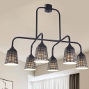 6-Light Island Pendant Light Industrial Living Room Suspension Lamp with Laser-Cut Bell Metal Shade in Black