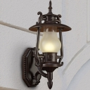 Lantern Outdoor Wall Lamp Nautical Frosted White Glass 1-Light Black Wall Lighting Ideas