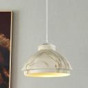 Bowl Shade Snack Bar Pendant Lighting Industrial Aluminum 1 Bulb White/Wood/Coffee Hanging Lamp Kit