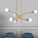 Metallic Sputnik Ceiling Chandelier Modernist 6/8/12 Bulbs Gold Finish Pendant Light Fixture