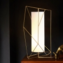 White Fabric Cylinder Table Light Modernist 1-Light Gold Night Lamp with Geometric Cage