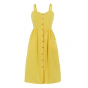 Lovely Yellow Button down Pleated Back Sweetheart Neck Pockets Sides Mid A-Line Cami Dress for Girls