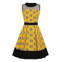 Audrey Hepburn Womens Polka Dot Stripe Printed Sheer Mesh Panel Sleeveless Crew Neck Contrasted Mid Pleated Flared Dress in Yellow