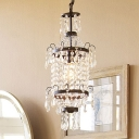 Black 1 Head Pendant Lamp Victorian Crystal Strands Ceiling Hanging Lantern over Dining Table