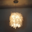 White Feather Hanging Light Kit Modernism 1 Head Fabric Ceiling Pendant Lamp for Dining Room