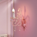 Pink Finish Candle Wall Mount Light Cartoon 1/2-Bulb Metal Wall Sconce Lamp with Crystal Deco
