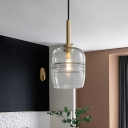 Clear/Smoke Gray Glass Ruffle Hanging Pendant Minimalism 1-Light Suspension Lamp for Bedside