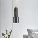 Modern Nordic Tube Hanging Light Kit Marble 1-Light Living Room Drop Pendant Lamp in White/Green