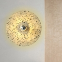 Designer Style Plate Wall Sconce Light Terrazzo 1-Bulb Corridor Wall Mounted Lamp in Beige/Lake Blue
