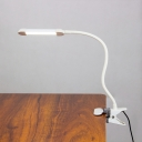 Simple Linear Reading Light Metal Study Room LED Flexible Task Lamp with Plug In Cord in White/Black