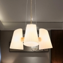 Modern 3/5-Light Hanging Chandelier Wood Cone Ceiling Pendant Lamp with White Prismatic Glass Shade