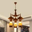 Factory Kerosene Chandelier Lighting 3-Head Yellow Crackle Glass/White Glass Hanging Pendant Light for Restaurant