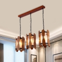 3 Heads Yellow Water Glass Pendulum Light Factory Brown Cylinder Dining Room Cluster Pendant with Wood Panel Deco