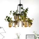 5-Head Iron Chandelier Light Industrial Black Candle Restaurant Pendant Lamp with Potted Plant