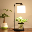 Cylinder Bedroom Table Light Industrial Fabric 1 Bulb Black/White Night Lamp with Clear Crystal Plant Cup