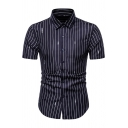 Leisure Mens Short Sleeve Lapel Collar Button Up Number Stripe Print Fitted Shirt Top