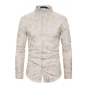 Unique Mens Long Sleeve Stand Collar Button Down Hot Stamping All Over Floral Print Regular Fit Henley Shirt