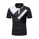 Cool Boys Short Sleeve Lapel Collar Button Up Colorblocked Fitted Polo Shirt