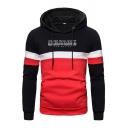 Cool Streetwear Boys Long Sleeve Drawstring Letter COUTURE Print Colorblock Pouch Pocket Fitted Hoodie in Black
